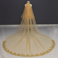 Real Photos 2 Tiers Long Gold Wedding Veil with Comb 2 T 3 M Beautiful Cover Face Bridal Veil Voile Mariage