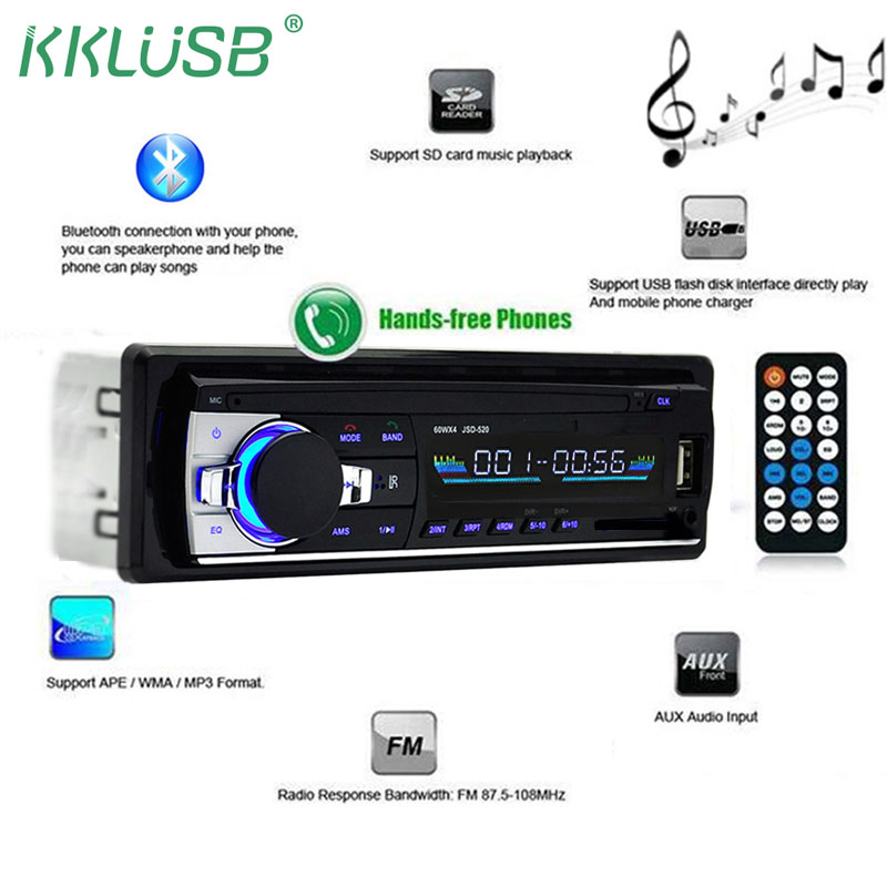 autoradio 1 din car radio JSD-520 car stereo bluetooth audio mp3 recorder usb sd aux input oto teypleri auto radio car player(China)
