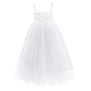 Image 2 - 2020 Girls Mesh Spaghetti Shoulder Straps Flower Girl Dress High waisted Princess Pageant Ball Gown Wedding Party Dress SZ 2 14