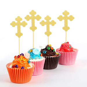 Image 3 - 24pcs Cross And Angel Shaped Cake Topper Paper Cake Picks Cupcake Toppers Decorations Topper Decor Baby Shower Party Supplies