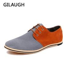 GILAUGH Fashion Patchwork Simple Style Suede Men Shoes Lace Up Casual Leather Shoes Zapatillas Hombre Big Size 38-50