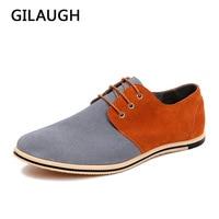 GILAUGH Fashion Patchwork Simple Style Suede Men Shoes Lace Up Casual Leather Shoes Zapatillas Hombre Big Size 38 50