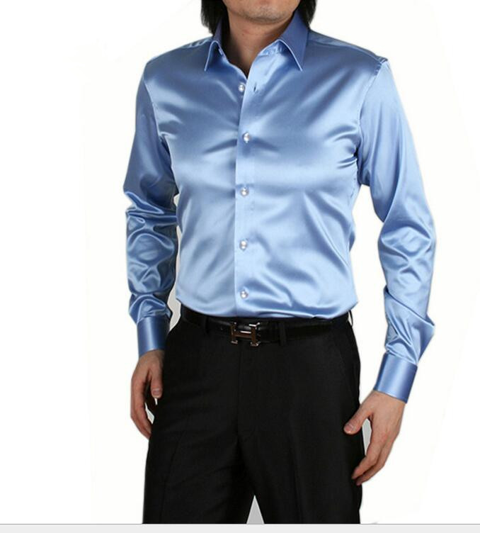 9704c090dd5 men long sleeve silk shirt High quality dress shirts men plus size   S 5XL men  shirt slim fit mens formal business dress shirt-in Casual Shirts from Men's  ...
