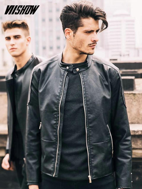 VIISHOW PU Men Lether Jackets Brand Men's Jackets Chaqueta Cuero Hombre 2018 Solid Jackets Men Motorcycle Winter Coats D110953