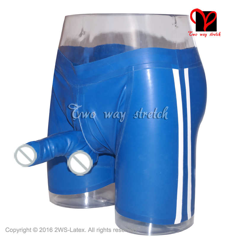 Sexy Blue Latex Boxer shorts With stripes trim penis sheath front zipper Rubber underwear condom Pants Bermuda HotPants  KZ-128
