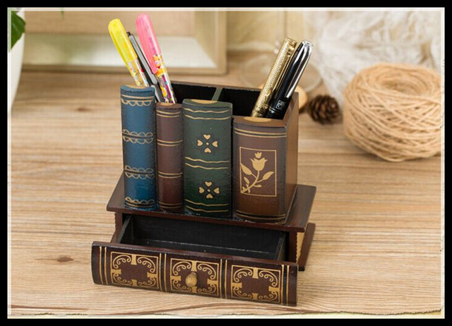 Multifunction  Retro Wooden Pen Holder Book Shape Wood Craft Home Decor Pencil Desktop Storage Box Stationery Holder ElimElim 3