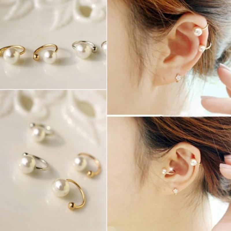 Pearl Wrap Ear Cuff Cartilage Clip On No Piercing Earings Fashion Jewelry Brincos For Women Gold Silver Bijoux Wedding Gif