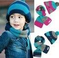 2017 Плед шерсти вязать шарф шляпа из двух частей детские шапки мальчики девочка зима Теплая шапки