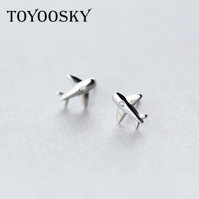 925 Sterling Silver Aircraft Airplane Plane Stud Earrings Women S With Clear Cz Handmade Jewelry