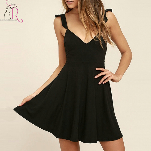 Summer Ruffle Backless Mini Black Dress Women Spaghetti Strap Deep V Neck Tied Back Sleeveless Sexy Pleated Party Dresses