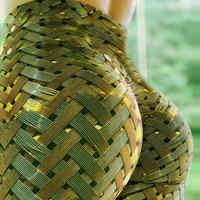 Nouveau sexy fitness push up jaune leggings pour femmes legging sexe tissage grille taille haute arc couleur unie Slim fit grande taille pantalon