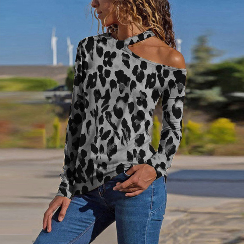 Plus Size Leopard Printed Halter Women Shirt Sexy Off Shoulder Long Sleeve Female Blouses Spring Fashion Casual Slim Woman Tops