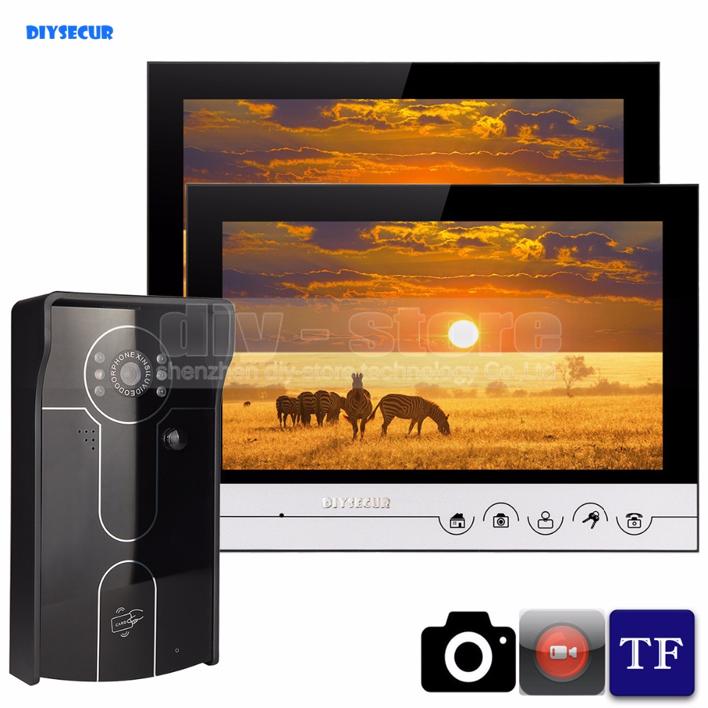 DIYSECUR 9inch Video Record/Photograph Video Door Phone Doorbell Waterproof RFID Camera Home Security Intercom System 1V2 home use 9 inch color tft monitor 8gb sd card video record door phone doorbell intercom system ir camera for apartment security