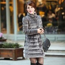 New arrival European fashion bows velvet slim down jacket women thickening warm long down coat outerwear 2017 autumn winter