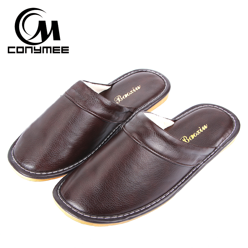 CONYMEE Home Slippers Men Winter Leather Shoes Warm Slipper Flats Shoe Non-slip Soft Floor Sneakers For Indoor Mens Terlik