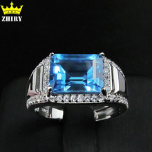 100% Natural blue topaz gem Man ring genuine solid 925 sterling silver stones rings for men jewelry