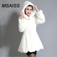 MSAISS S-6XL 겨울 여성 착실히 보내다 긴 소매 밍크 모피 코트 긴 외투 블랙 여성 자켓 인조 밍크 재킷