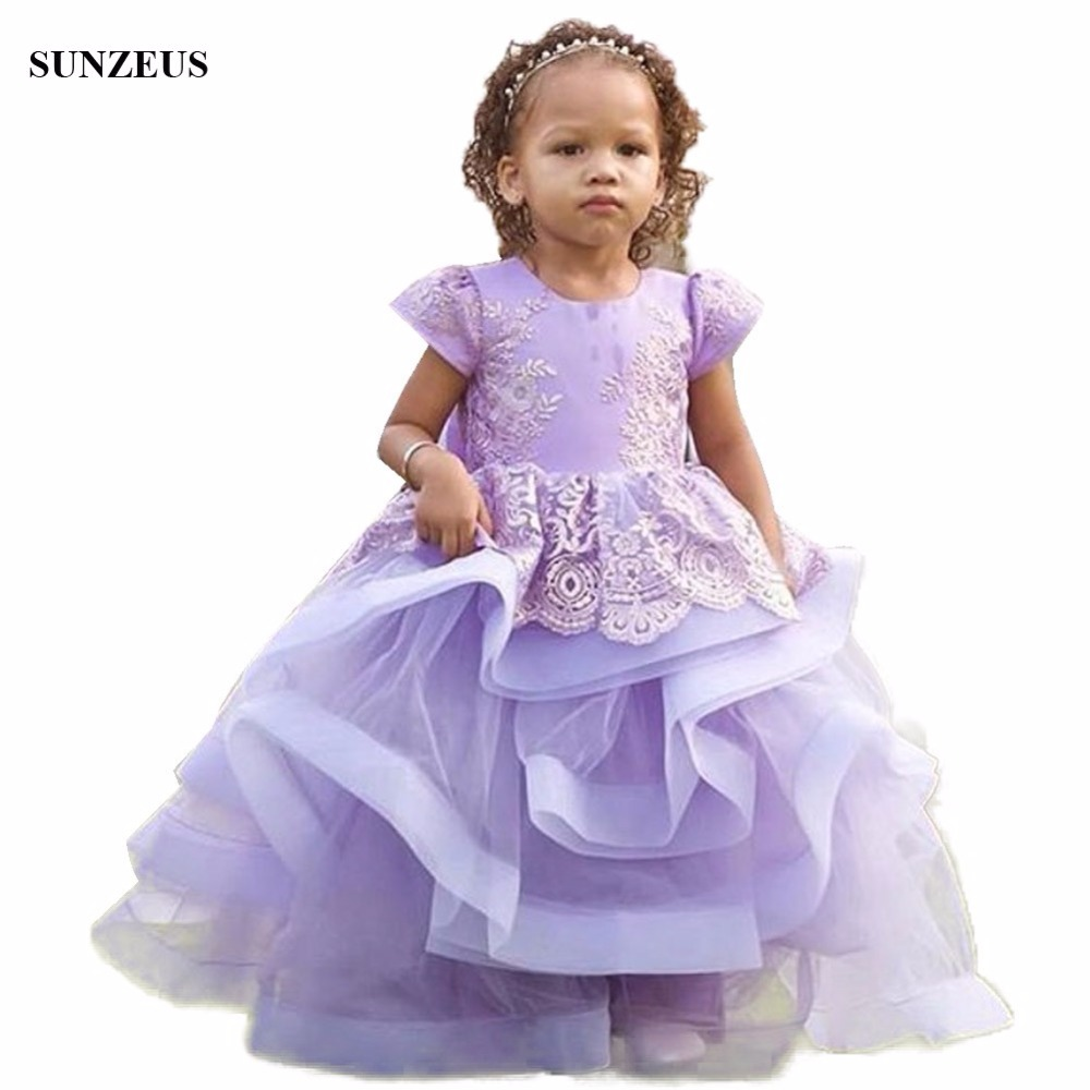 Ball Gown Purple   Flower     Girl     Dress   Cute Ruffles Children Party Gowns With Appliques vestidos de comunion FLG070