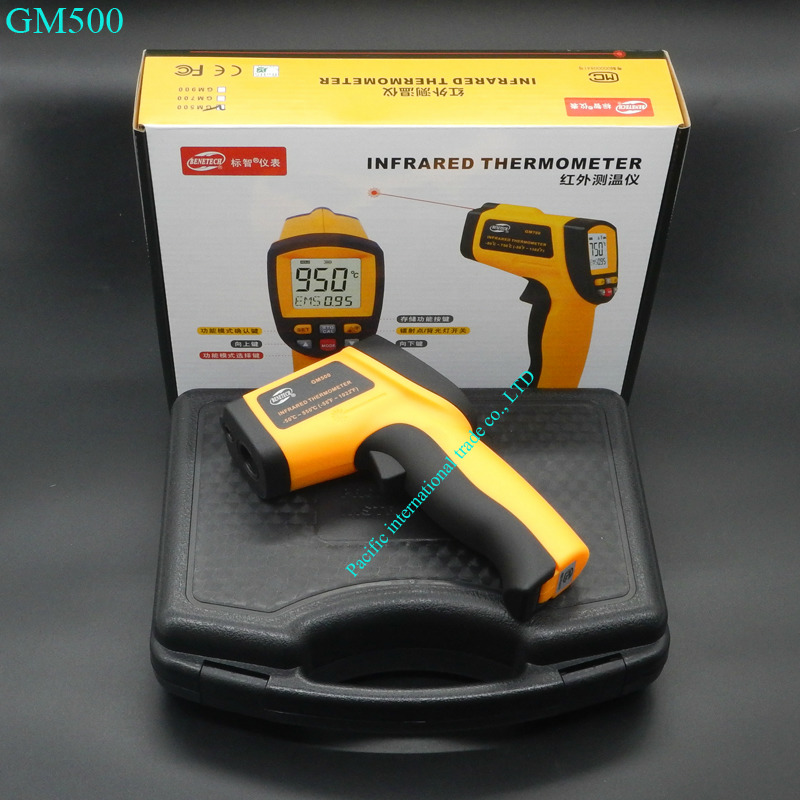 Digital Laser infrared thermometer GM500 -50~500C(-58~1022F) Themperature Pyrometer IR Laser Point Gun EMS 0.1-1.0 with BOX  non contact digital laser infrared thermometer gs320 50 360c 58 680f themperature pyrometer ir laser point gun