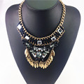 Gotas De Diseño en Forma de Encanto Colgante Collar de Moda Collar de Cadena de Cuerda de Algodón Tejido Hoja de la Aleación Hecha A Mano Collar de la Declaración