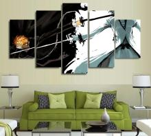 5 Panels Wall Art Anime Bleach Ichigo Kurosaki 5 Pieces Paintings Canvas Poster Unframed 9004