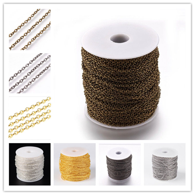 100M/roll 3x2x0.5mm Unwelded 5 Colors Iron Cross Chain Come On Reel Chains DIY Necklace Bracelets Findings Accessories PANDAHALL