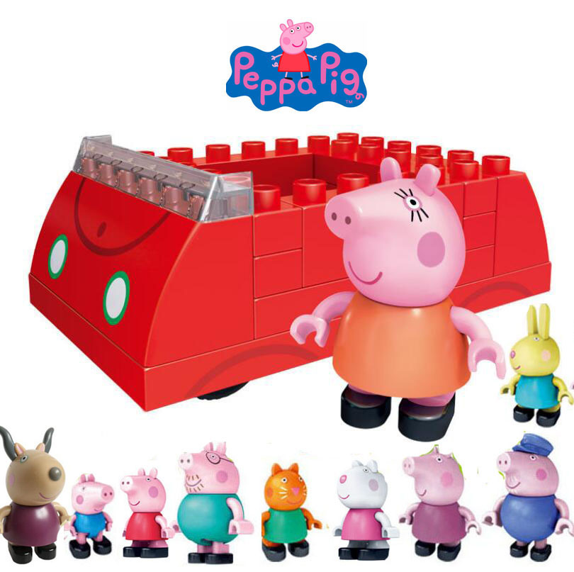 Genuine PEPPA PIG mummys red car building block assembly toy with friend George teacher Antelope / one res car with 10pcs DollGenuine PEPPA PIG mummys red car building block assembly toy with friend George teacher Antelope / one res car with 10pcs Doll