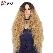 30 inç Sentetik Peruk Sarışın Kırmızı Siyah Ombre Afro Peruk Kadınlar Için Uzun Kıvırcık Sarışın Kahverengi Saç Kadın Peruca Satış