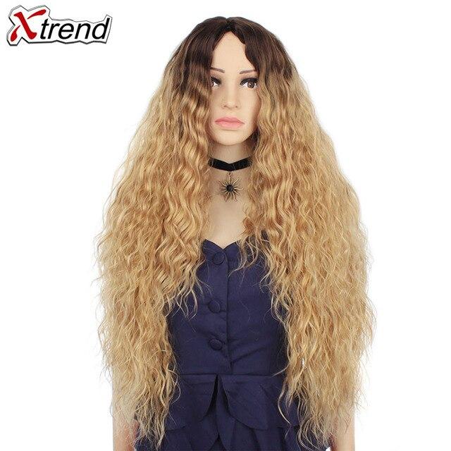 30 インチ合成かつらブロンド赤黒オンブルアフロかつらのためのカーリーブロンド茶色髪の女性ウィッグ販売
