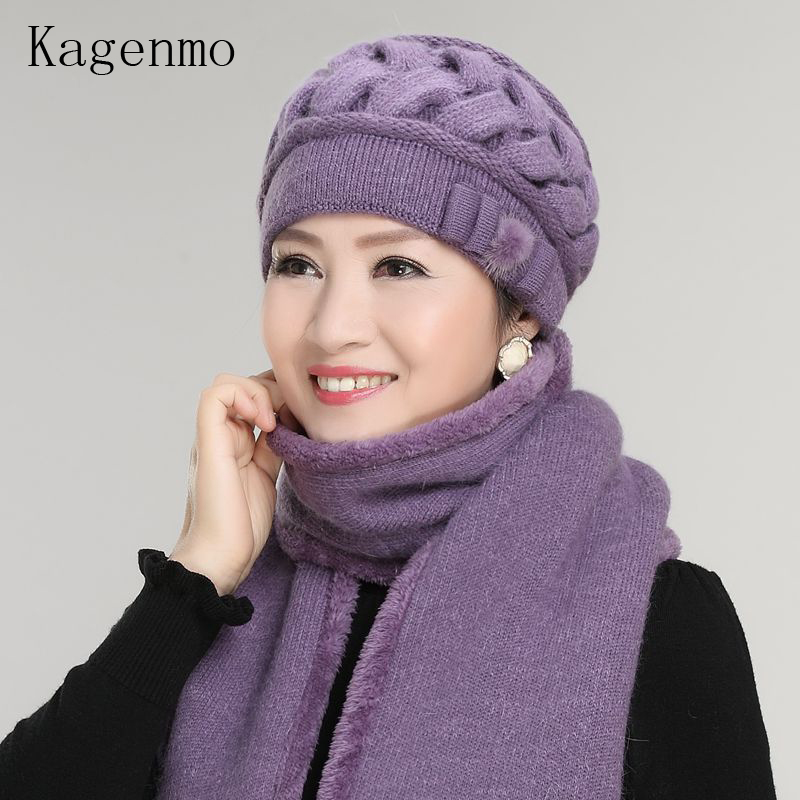 Radient The Elderly Womens Autumn And Winter Hat Scarf Twinset Thickening Thermal Rabbit Fur Yarn New Year Gift Rabbit Fur Cap Scarf Women's Scarf Sets Apparel Accessories