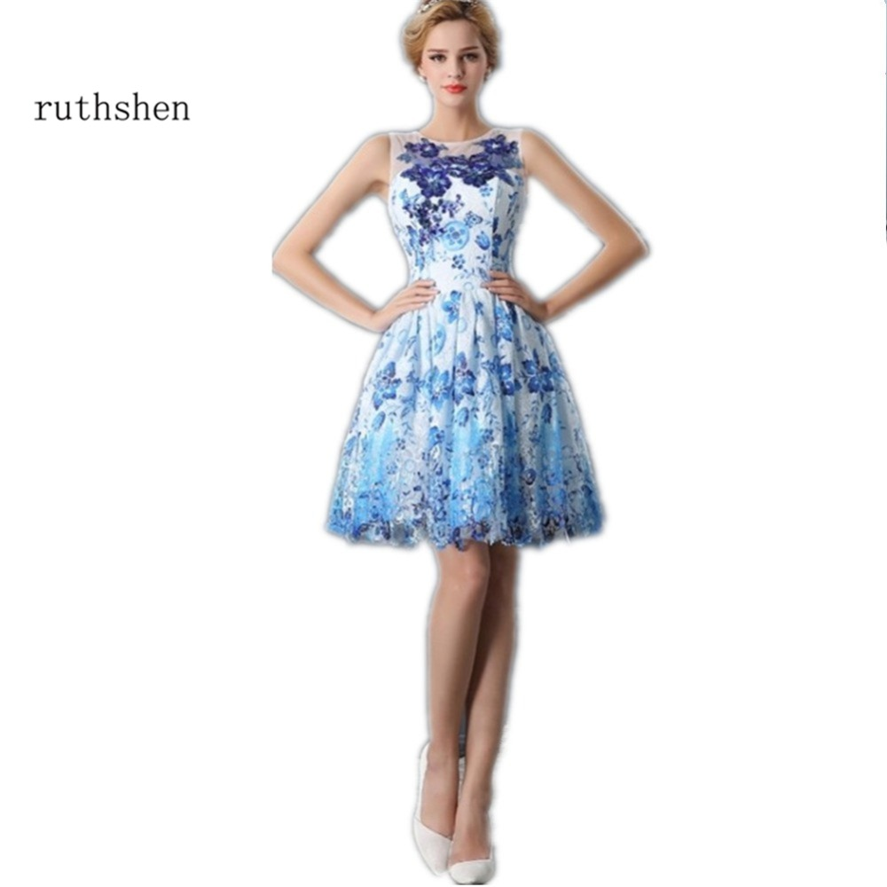 Amazing Short Lace Prom Dresses 2018 Blue Sequin Appliques Knee Length Vestido Formal Party Dress Vestidos Cortos De Gala
