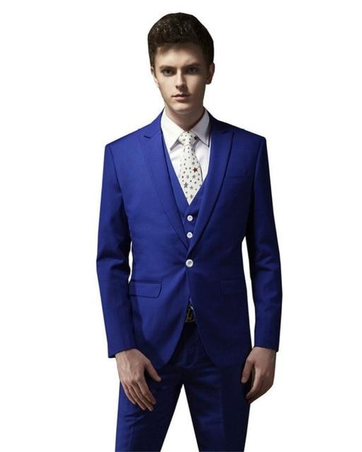 Mens Suits Wedding Groom Royal Blue Men Wedding Coat Pants Wedding