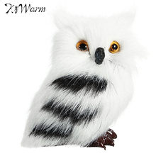 Kiwarm Cute Lovely Owl White Black Furry Christmas Bird Ornament Decoration Adornment Simulation for Home Decor Kids Gift(China)