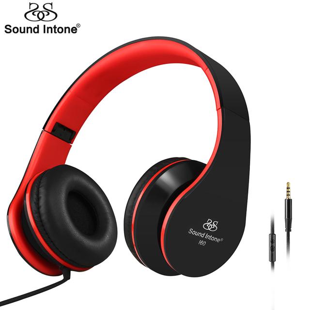Sound intone i60 ligero estéreo casque auriculares auriculares para la computadora del teléfono auriculares con micrófono plegable portátil