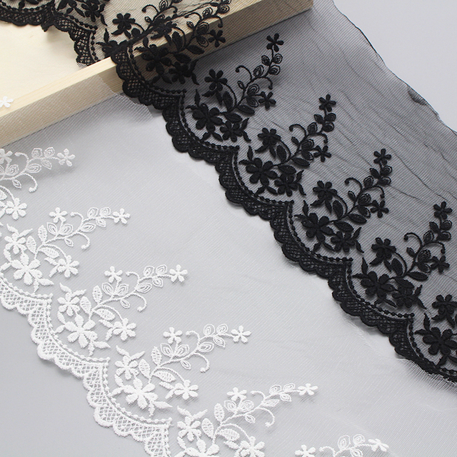 Lucia crafts 1y/5y 13cm White/Black Flower Organza Embroidered Lace Fabric  Trim Ribbons