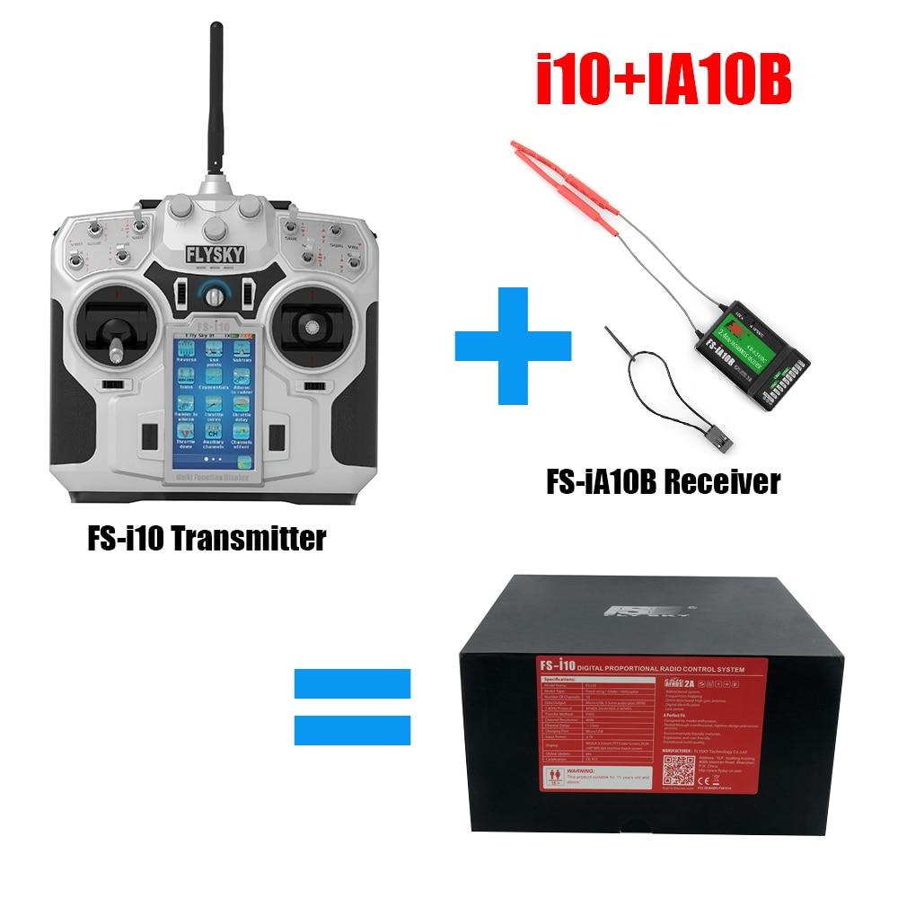 GizmoVine Flysky FS i10 2.4g 10CH LCD Trasmettitore + FlySky FS-iA10B 2.4g 10CH Ricevitore Per RC Quadcopter goccia trasporto libero