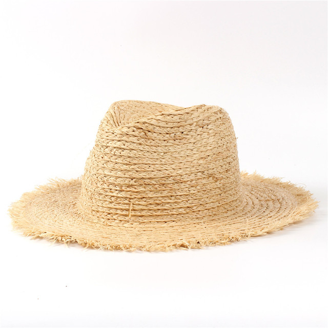 de0fa8ba74b 100% Raffia Straw Summer Women Travel Beach Sun Hat For Elegant Lady Fedora  Floppy Wide