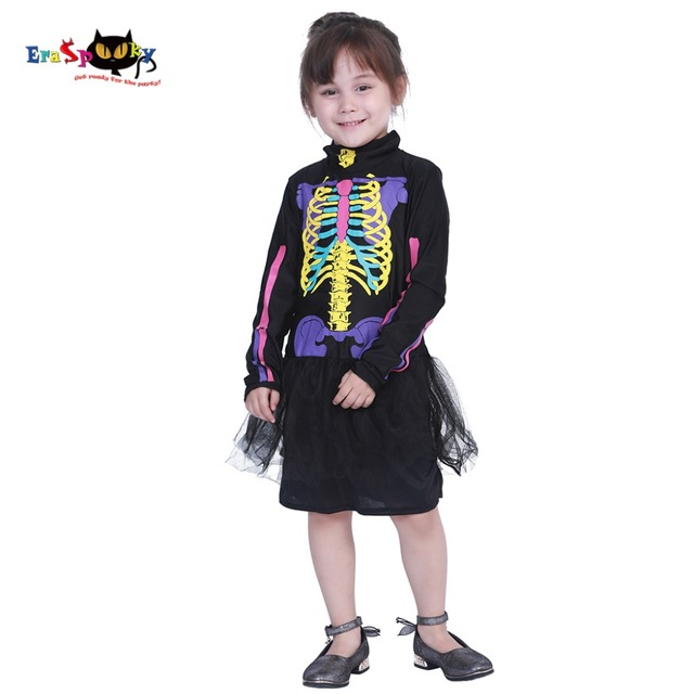 eraspooky 3 12t carnival toddler tutu dress kids halloween costume for girls skull dresses skeleton