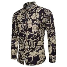 Fashion Printing Shirt Men New Arrival Long-sleeved Shirt Beach Hawaii Style Casual Slim Fit Tops Spring Autumn Large Size M-5XL 2016 spring autumn new arrival men s casual skinny jean slim regular fit straight leg nice cutting large size pants