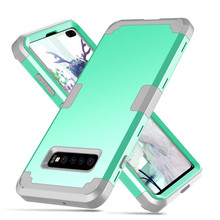 Luxury Colorful For Samsung Galaxy s10 Plus Silicon Soft PU 360 Degree Shockproof Solid Matte Anti Knock Hybrid Armor Protection