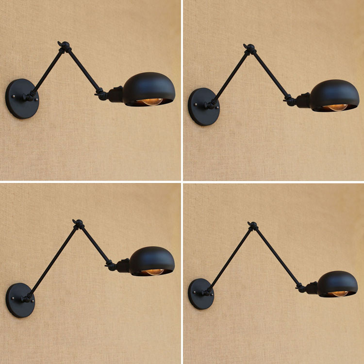 Vintage Loft Industrial Adjustable Sconce Wall Lights for Bedroom Long Swing Arm Flexible Wall Lamp Black Lighting Fixtures E27Vintage Loft Industrial Adjustable Sconce Wall Lights for Bedroom Long Swing Arm Flexible Wall Lamp Black Lighting Fixtures E27