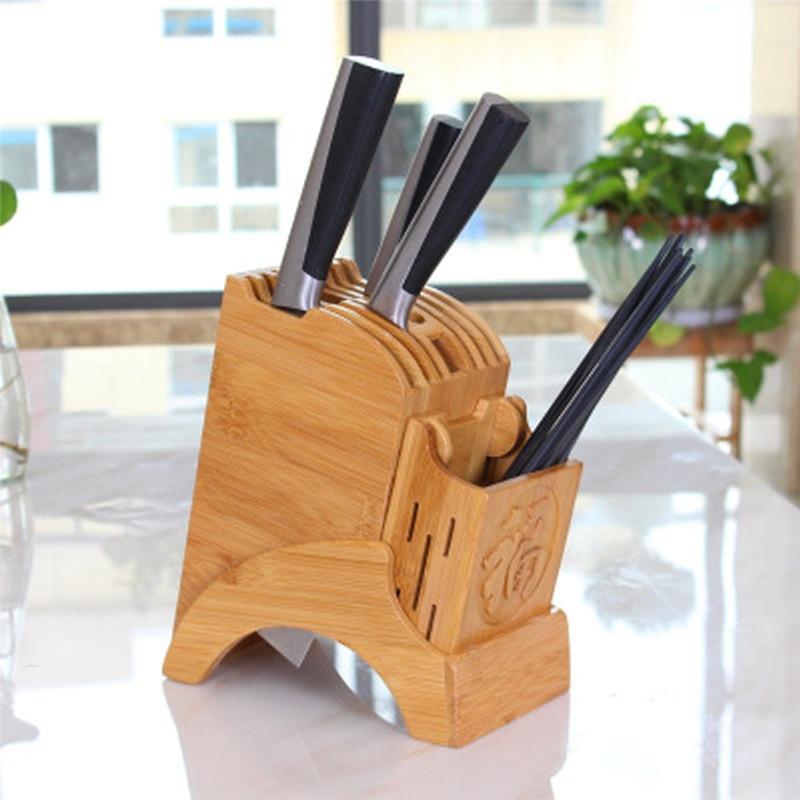 Kitchen Bamboo Knife Holder Chopsticks Storage Shelf Storage Rack Tool Holder Bamboo Knife Block Stand Kitchen Accessories in Blocks Roll Bags from Home Garden