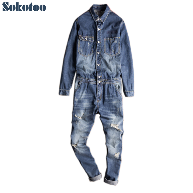 Sokotoo Men's full sleeve denim jumpsuits Slim pockets cargo ripped   jeans   set Overalls