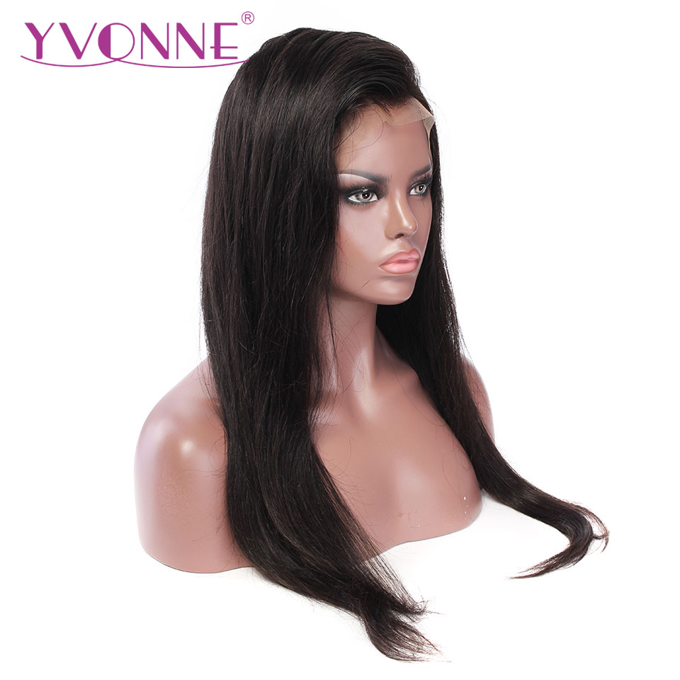 YVONNE Straight Human Hair Lace Front Wigs Brazilian Virgin Hair Natural Color Free Shipping