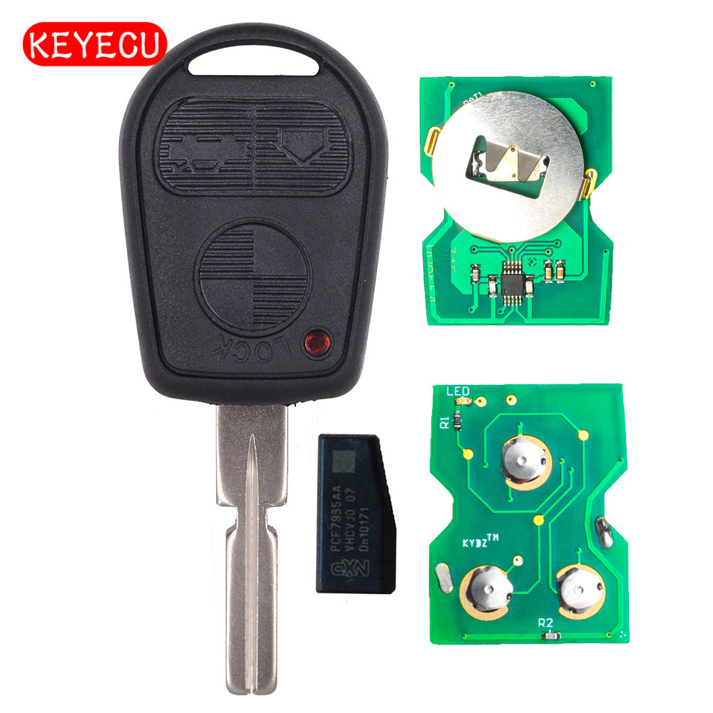 Keyecu EWS 3 Button Remote Key Fob 315MHz/433MHz ID44 Chip for Old BMW 3 5 7 X5 X3 Z4 E38 E39 E46 HU58 Can Adjustable Frequency image
