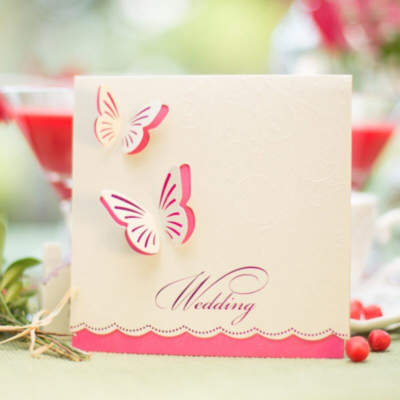 50Pcs/pack Personalized Butterfly Wedding Party Invitation Card Romantic Cards with Envelope Wedding Invitations Party Supplies 1 design laser cut white elegant pattern west cowboy style vintage wedding invitations card kit blank paper printing invitation