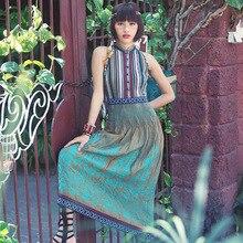 Aporia. As летнее шифоновое длинное платье, винтажное Ретро женское, национальный тренд, элегантное, с вышивкой, с лентой, официальное длинное зеленое платье