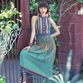 Aporia.As Summer Vintage&Retro Women National Trend Elegant Slim Print Patchwork Sleeveless Embroidery Ribbon Chiffon Long Dress