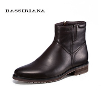 BASSIRIANA 2017 New Mens Fashion Martin Boots Genuine Leather Shoes Men S Ankle Black Spring Booties