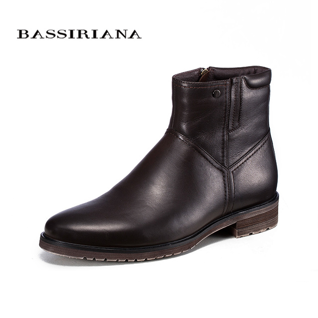 BASSIRIANA 2017 Новый Мужская Мода Мартин Сапоги Из Натуральной Кожи Обувь мужская Лодыжки Черный Весна Пинетки Загрузки Мода Повседневная Обувь